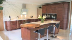 Contemporary Kitchen Design, Romsey, Hampshire. Stoneham walnut Elan.